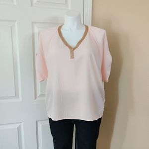 Juicy Couture pink & rose gold v-neck blouse sz XL